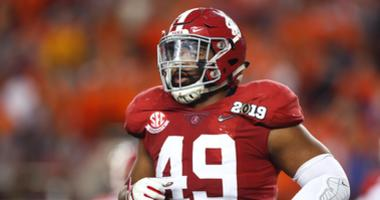 Alabama Crimson Tide defensive lineman Isaiah Buggs (49) against the Clemson Tigers in the 2019 College Football Playoff Championship game at Levi's Stadium.