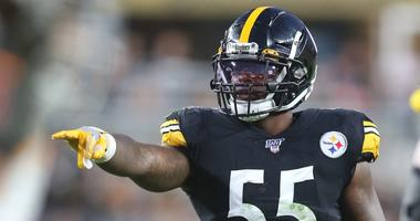 Pittsburgh Steelers linebacker Devin Bush (55) reacts on the field against the Tampa Bay Buccaneers during the second quarter at Heinz Field.