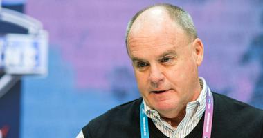 Pittsburgh Steelers general manager Kevin Colbert speaks to media during the 2019 NFL Combine at Indianapolis Convention Center.