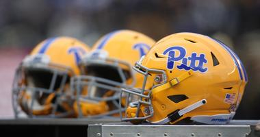Pittsburgh Panthers helmets on the sidelines against the Virginia Tech Hokies during the first quarter at Heinz Field. Pittsburgh won 52-22.