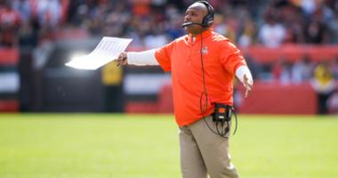Cleveland Browns head coach Hue Jackson yells out to the referee during a timeout in the second half against the Pittsburgh Steelers at FirstEnergy Stadium.