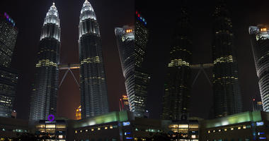 Combo photo shows lights on (L) and off of Petronas Twin Towers before (L) and during the Earth Hour event in Kuala Lumpur, Malaysia, March 30, 2019