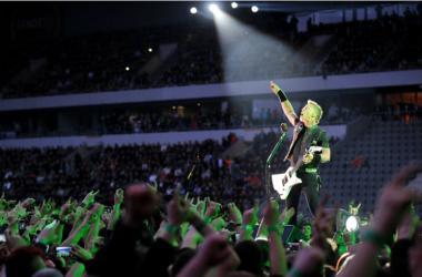 James Hetfield of Metallica during performance in Prague, May 7, 2012