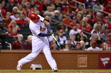 St. Louis Cardinals catcher Yadier Molina (4) hits a one run double off of Arizona Diamondbacks starting pitcher Robbie Ray