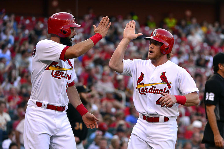 St. Louis Cardinals player celebrate.