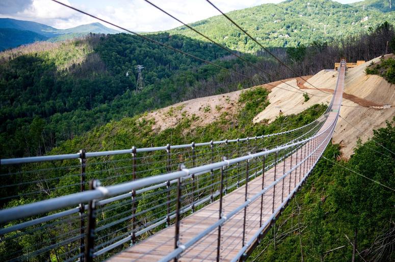 The new SkyBridge in Gatlinburg Tennessee is the longest pedestrian suspension bridge in North America,