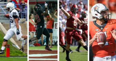 Penn State's Saquon Barkley, Stanford's Bryce Love, Oklahoma's Baker Mayfield, Oklahoma State's Mason Rudolph