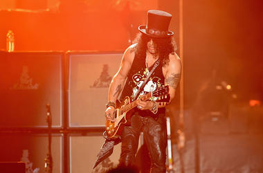 Lead guitarist of Guns N' Roses, Slash performs onstage during day 2 of the 2016 Coachella Valley Music & Arts Festival Weekend 1