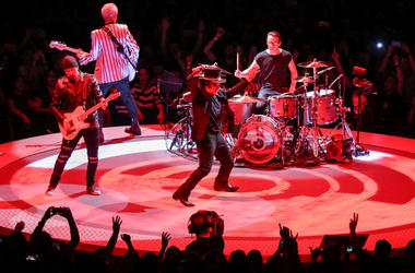U2 perform on stage at the U2 eXPERIENCE + iNNOCENCE Tour. The O2 Arena, London