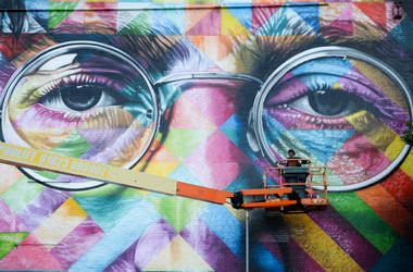 1/1/2018 - Review of the Year 2017: July: A graffiti artist works on a huge mural of John Lennon as he takes part in Upfest, a street art and graffiti festival in Bristol.