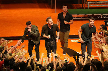 Members of Big Time Rush perform during the Nickelodeon Slimefest 2013 matinee show at Sydney Olympic Park Sports Centre on September 27, 2013 in Sydney, Australia
