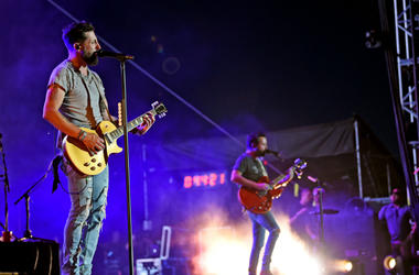Matthew Ramsey and Brad Tursi of Old Dominion perform onstage during the 2019 Stagecoach Festival