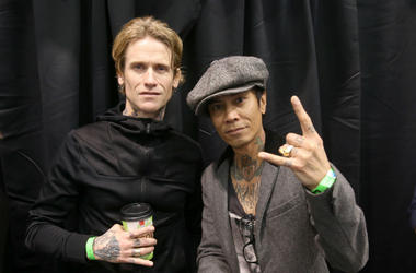 Josh Todd and Stevie D of 'Buckcherry' attend the 2017 NAMM Show
