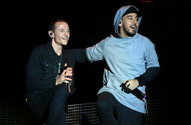 Chester Bennington (L) and Mike Shinoda of Linkin Park perform onstage during Rock in Rio USA at the MGM Resorts Festival Grounds on May 9, 2015 in Las Vegas, Nevada.