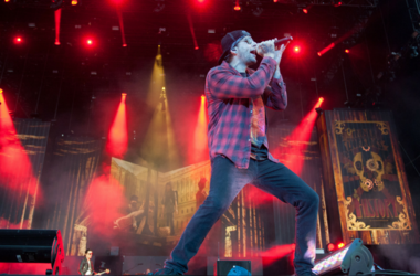 M. Shadows of Avenged Sevenfold headline on the main stage on day 1 of Download Festival