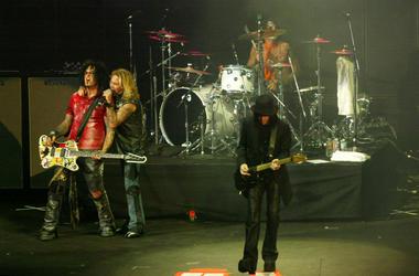 Bassist Nikki Sixx, lead singer Vince Neal, drummer Tommy Lee and guitarist Mick Mars of Motley Crue perform at the KROQ Weenie Roast 2005