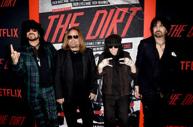 """Nikki Sixx, Vince Neil, Mick Mars and Tommy Lee of Motley Crue arrive at the premiere of Netflix's """"The Dirt"""""""