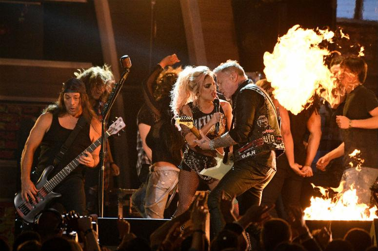Metallica performs with Lady Gaga during the 59th Annual Grammy Awards at Staples Center.