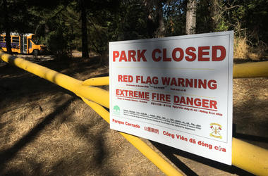 """Joaquin Miller Park in Oakland was shut on Sept. 24, 2019 due to fire danger, but Netflix continued recording a new episode of """"13 Reason Why"""" despite the danger there.  (Photo credit: Matt Bigler/KCBS Radio)"""