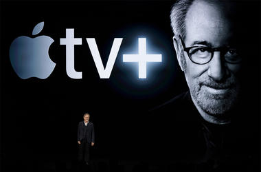 Director Steven Spielberg speaks at the Steve Jobs Theater during an event to announce new Apple products Monday, March 25, 2019, in Cupertino, Calif. (AP Photo/Tony Avelar)