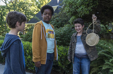 """This image released by Universal Pictures shows Jacob Tremblay, from left, as Max, Keith L. Williams as Lucas and Brady Noon as Thor in the film, """"Good Boys,"""" written by Lee Eisenberg and Gene Stupnitsky and directed by Stupnitsky. (Ed Araquel/Universal P"""