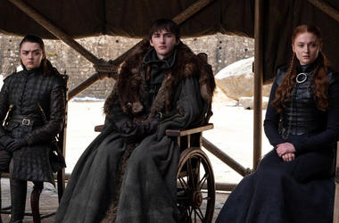 """Maise Williams as Arya Stark, Isaac Hempstead Wright as Bran Stark and Sophie Turner as Sansa Stark of """"Game of Thrones"""" (Photo credit: HBO)"""