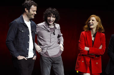 "Bill Hader, left, Finn Wolfhard, center, and Jessica Chastain, cast members in the upcoming film ""It: Chapter Two."""