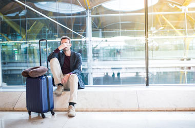 A stranded traveler at the airport