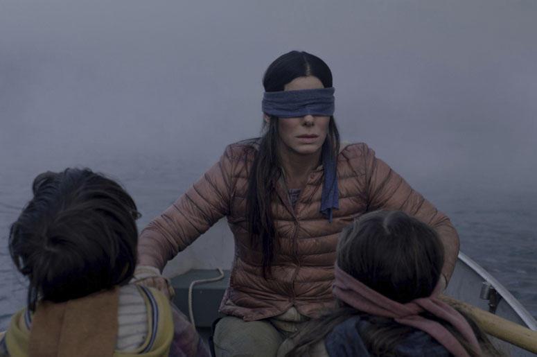 "Sandra Bullock in a scene from the film, ""Bird Box."""