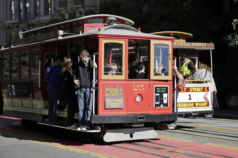 In this Nov. 3, 2015 file photo, a pair of cable cars go past each other on Powell Street atop Nob Hill in San Francisco. (AP Photo/Eric Risberg)