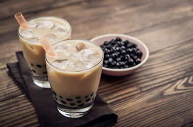 Bubble Tea, Boba Tea, Tapioca Pearls, Table, Wooden Background