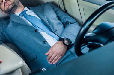 Man, Businessman, Sleeping, Car, Front Seat, Suit, Beard, Glasses