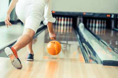 Man, Bowling, Lane, Rolling, Orange Ball
