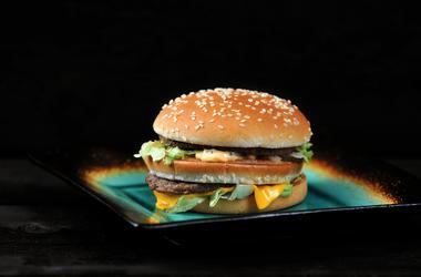 McDonald's, Big Mac, Plate, Black Background, Hamburger