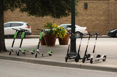 Dockless, Electronic Scooters, Parked, Street, Downtown
