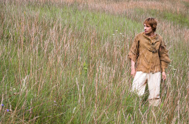 Young Man, Medieval Peasant, Walking, Field, Grass