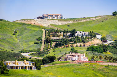 Mansion, Houses, Hill, Overlooking