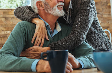 Husband, Wife, Older, Hugging, Cute, Smile, Kitchen