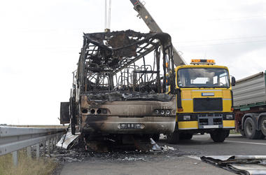 Coach Bus, Burned, Fire, Road, Highway Assistance