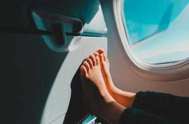 Bare Feet, Airplane, Seat, Flying
