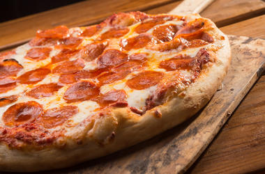 Pepperoni Pizza, Hot, Wooden Peel