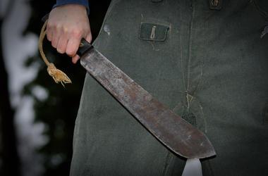 Machete, Man, Crazed Man, Rusty, Sharp, Knife