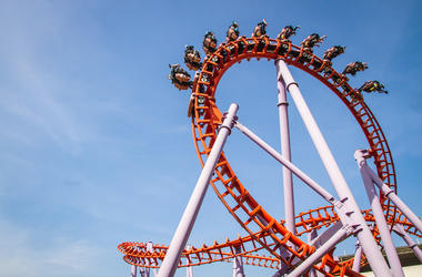 Roller Coaster, Blue Sky, Orange, People Riding, Loop