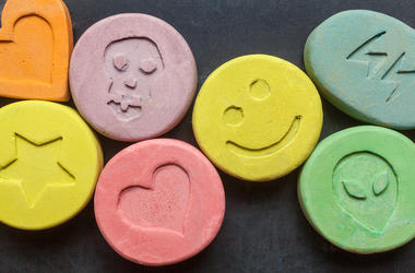 MDMA, Molly, Ecstacy, Drugs, Black Background