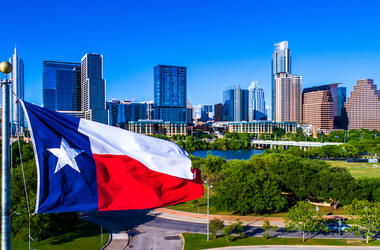 Texas, Flag, Waving, Wind, Austin, Skyline, Blue Sky, Cityscape, Downtown