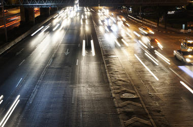 Highway, Speed Trail, Lights, Dark, Headlights, Night