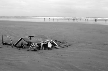 Car, Buried, Sand, Beach, Black and White