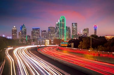 Dallas, Downtown, Skyline, Twilight, Traffic, Rush Hour, Cars, Blurry