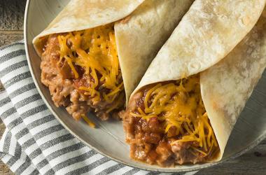 Bean, Cheese, Burrito, Taco, Plate