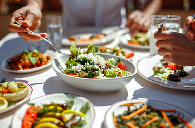 Couple, Meal, Salad, Appetizers, Vegetables, Vegan, Delicious, Table